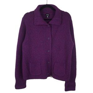 Eileen Fisher Wool Cashmere Purple Cardigan Large